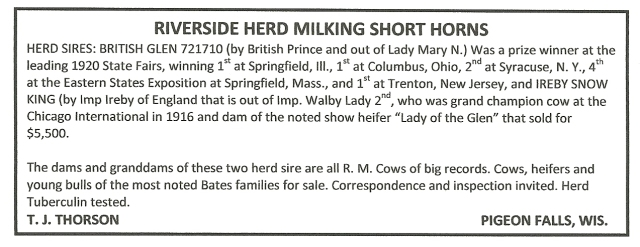 Shorthorn Sale - Blair Press 6Jan1921 p4