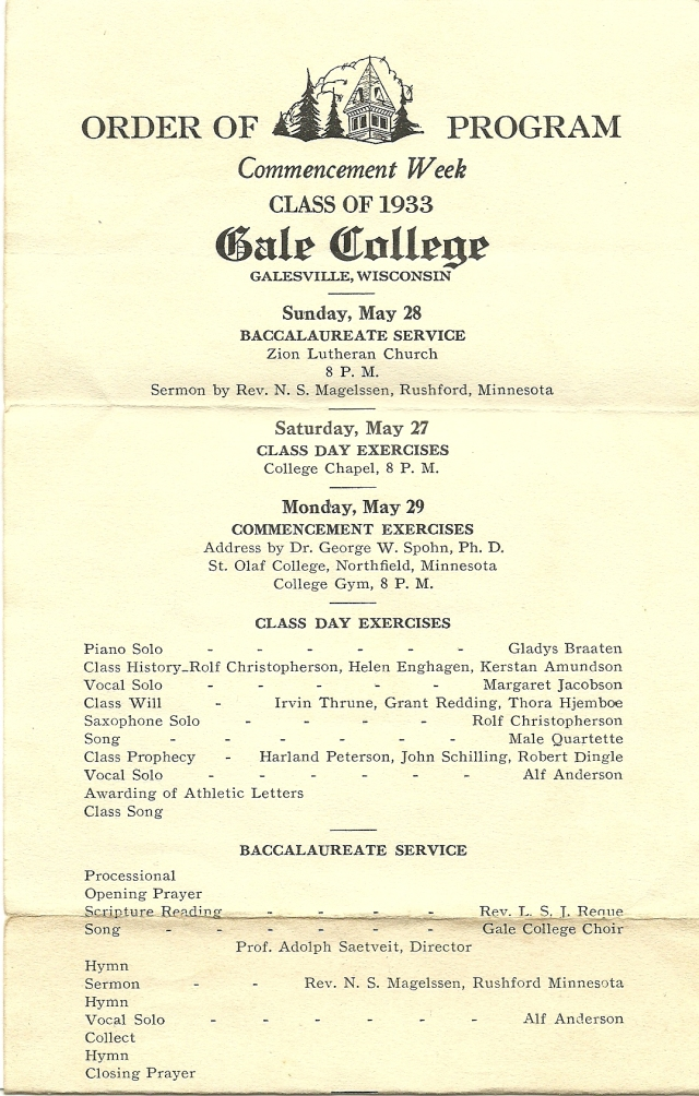 Gale graduation program 1933a