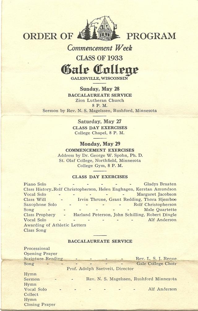 Gale graduation program 1933a