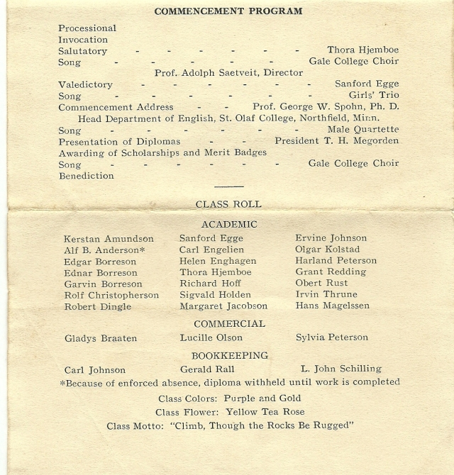Gale graduation program 1933b