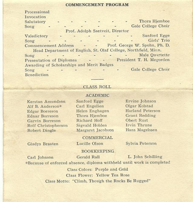 Gale graduation program 1933b