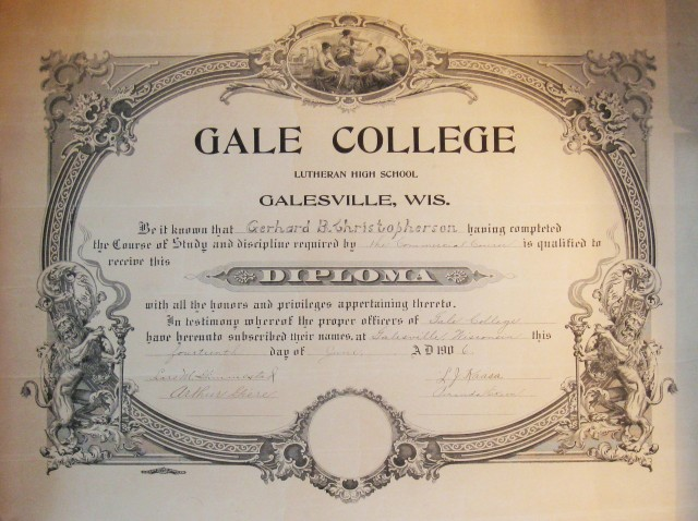 Gale 1906 high school diploma